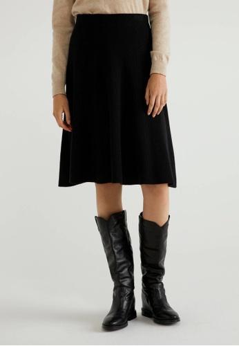 United Colors of Benetton black Knitted Flared skirt 37818AAEB93E26GS_1