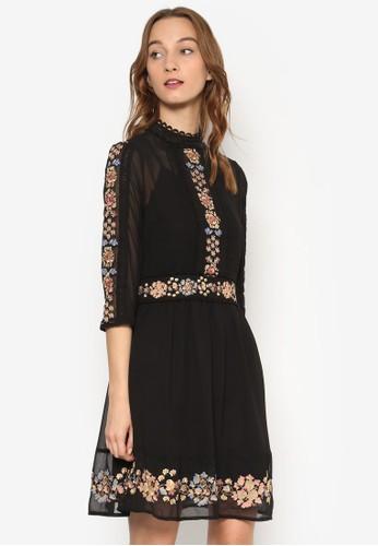 刺繡薄京站 esprit紗七分袖洋裝, 服飾, 洋裝