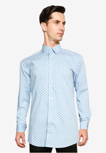 Only & Sons blue Bart Life Long Sleeve Organic Dot Shirt 3BE10AAD2DFA3BGS_1