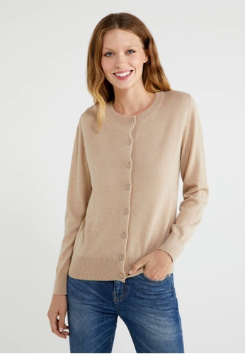 United Colors of Benetton beige Cashmere Blend Cardigan FCC77AAB068B4FGS_1