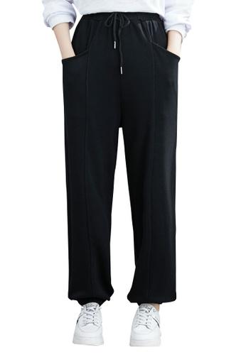 Zafiti black Women's Drawstring Waist Ankles-tied Leisure Pant - Black A4E7FAA58BD946GS_1