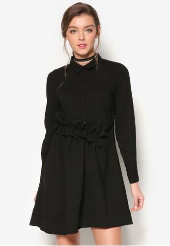 腰圍荷葉飾襯衫式洋裝、 服飾、 洋裝Maxqullo腰圍荷葉飾襯衫式洋裝最新折價