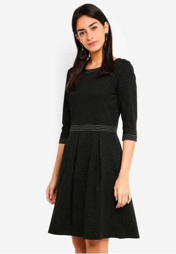 Max Studio black Knit 3/4 Sleeve Inverted Pleats Dress CBD6CAA4482108GS_1