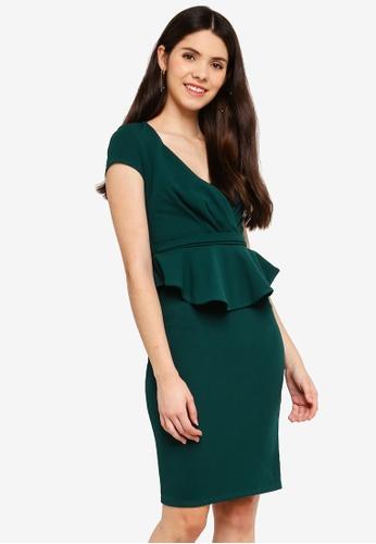 Goddiva green Peplum Short Sleeve Midi Dress BD864AAF3AC709GS_1