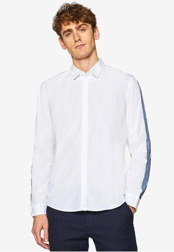 ESPRIT 白色 長袖襯衫 FCF3BAA8977FFEGS_1