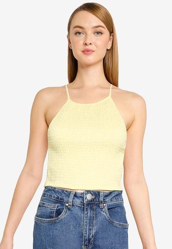 Cotton On yellow Daisy Shirred Halter Cami AE4E3AA9328272GS_1