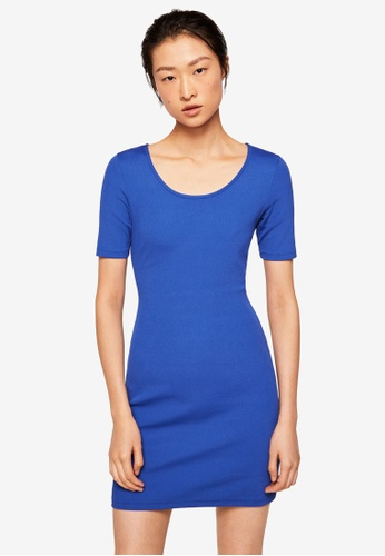 Mango blue Fitted Jersey Dress B297AAA76757EEGS_1