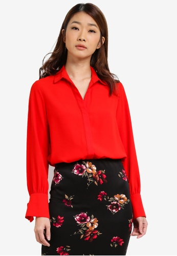Dorothy Perkins red Tie Cuff Shirt DO816AA0S4R8MY_1