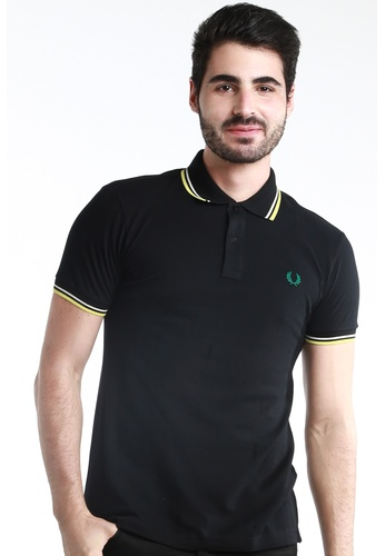 Fred Perry Green Label black and white and yellow Twin Tipped Black Polo Shirt FR595AA68WSTMY_1