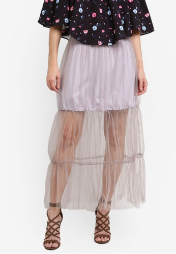SOMETHING BORROWED grey Tiered Tulle Skirt 019EBZZB86500FGS_1