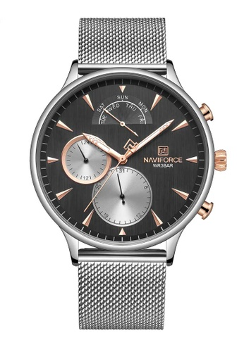NAVIFORCE silver Naviforce Rose Gold, Black and Silver Stainless Steel Mesh Watch 4655EAC90D552AGS_1