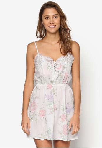 Sophia 蕾絲邊飾印esprit 衣服花睡裙, 服飾, 睡衣, 睡裙和連身內衣
