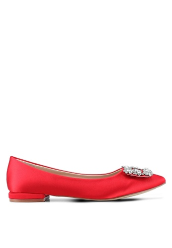 Nose red Satin Diamond Square Buckle Flats 98F68SH6E98253GS_1