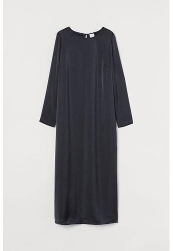 H&M blue Calf-length satin dress AC5ADAA924F0C0GS_1