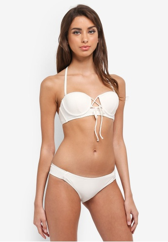 South Beach beige Ribbed Balconette U/W Moulded Cup Detail Bikini 10048USB1EA59FGS_1