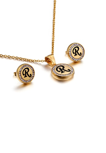 Glamorousky white Fashion and Simple Plated Gold English Alphabet R Geometric Round Cubic Zirconia with 316L Stainless Steel Necklace and Stud Earrings Set 33C6FACADA0CAAGS_1