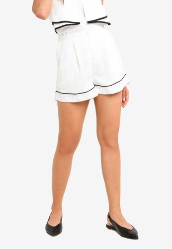ZALORA white and multi Contrast Piping Shorts 28627AA47E489AGS_1