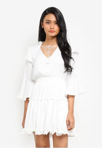 Preen & Proper beige Long Sleeve Flounce Elasticated Waist Dress EF857AA4312D20GS_1