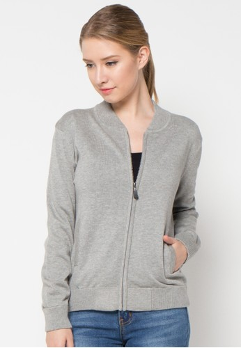 Noir Sur Blanc grey Ladies Card Jacket With Zipper NO321AA48KVVID_1