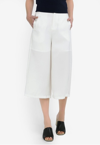 Hopeshow white Slim Cropped Culotte Pants 2CCE3AA70A7D2DGS_1