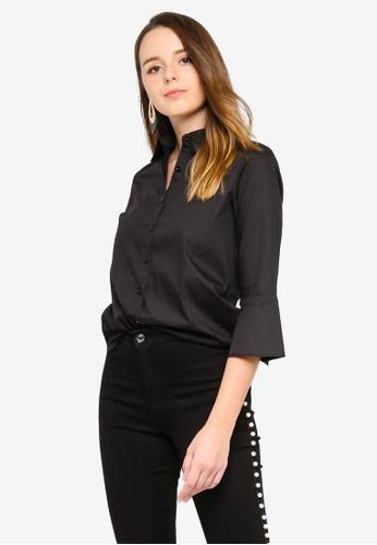 ZALORA black Dip Hem Shirt 403B9AAE4F2DA0GS_1