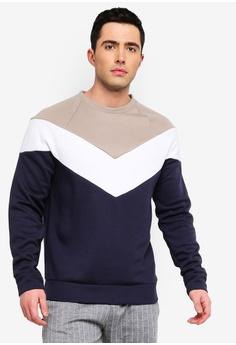 52b14644dca River Island beige and navy Colour Block Slim Fit Sweatshirt  34766AAF7F47E1GS 1