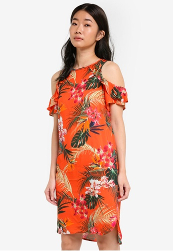 Dorothy Perkins orange and multi Tropical Cold Shoulder Shift Dress DO816AA11DDKMY_1