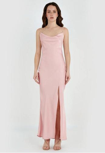 FORCAST pink FORCAST Jayla Cowl Neck Maxi Dress 09F79AACFFFA86GS_1