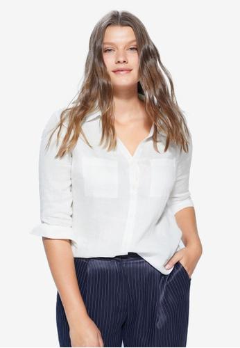 Violeta by MANGO white Plus Size Linen Shirt C99E4AAEAF2CB2GS_1