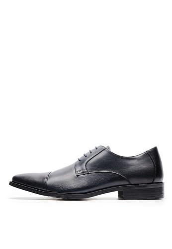 頭層打蠟牛皮。簡約微方頭皮鞋-04706-黑藍, esprit品牌介绍鞋, 皮鞋