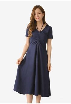 e51504bf5da3 Yoco blue V-Neck Chest Strap Ruched Sleeves Dress B465FAA047E21DGS 1