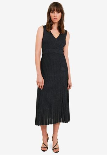 FORCAST black Rachel Pleated Lurex Knit Dress 9AB18AA0A3E9A3GS_1