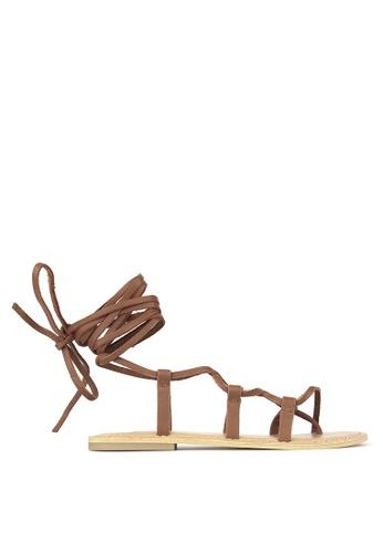 Betts brown Charlie Leather Leg Wrap Sandals 3D6BCSH7BF99B8GS_1