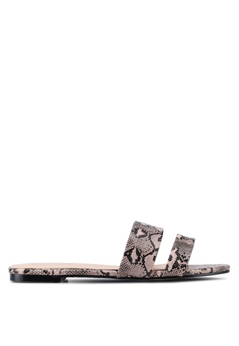 Public Desire pink Edie Double Strap Sliders 3A896SHDCE7F9AGS_1