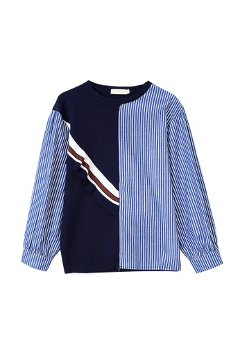 Its Me white and navy Round Neck Striped Stitching Sweater 2D176AA6D74FC6GS_1
