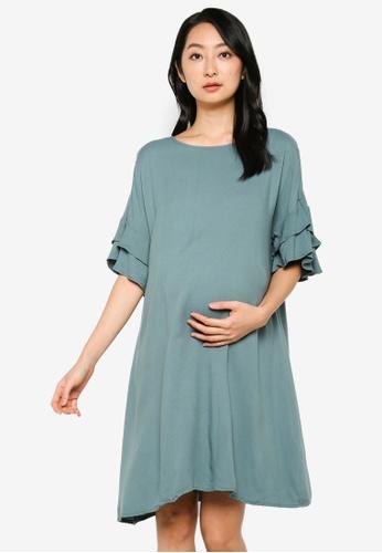LC Waikiki green Maternity Ruffle Detail Viscose Dress F74E8AA4CBDA40GS_1
