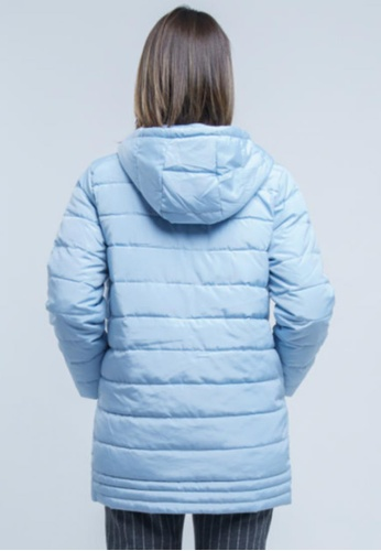 c4d6270594439 Buy Yishion Light Blue Hooded Quilted Cotton Jacket