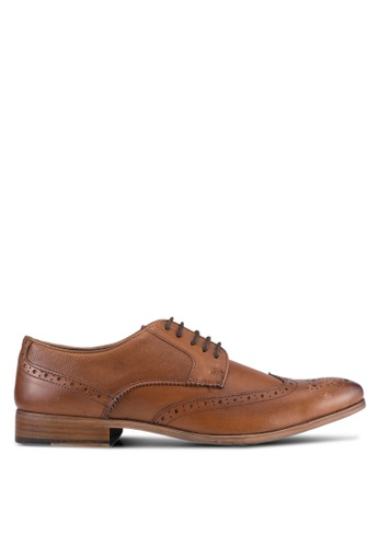 Topman brown Tan Leather Brogues TO413SH0SJLBMY_1