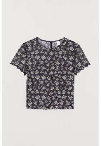 H&M black and multi Short-Sleeved Top 1BDFFAAB072B63GS_1