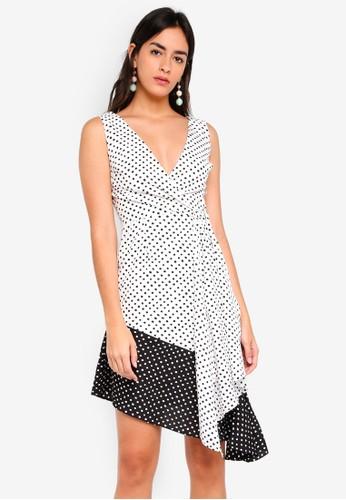 Lavish Alice multi Contrast Spot Flounce Hem Midi Dress 93E44AA8F4B63EGS_1