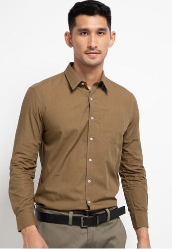 LORIENT brown Plain Long Sleeves Slim Fit Cotton Shirt Ben 131E6AA5C1C574GS_1