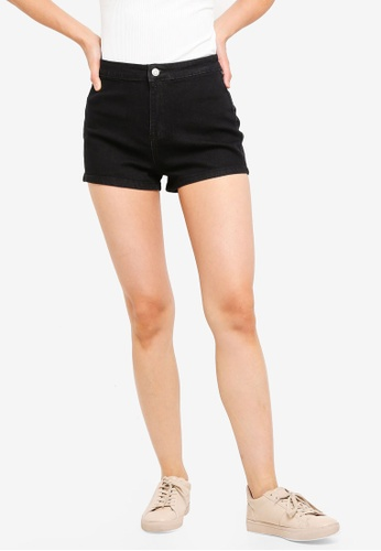 ZALORA BASICS black Basic Denim Stretch Shorts 829D2AA88B6521GS_1