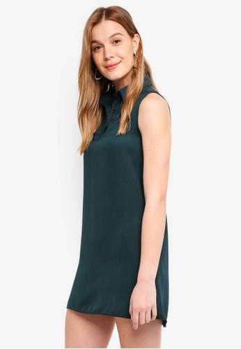 ZALORA BASICS green Sleeveless Shirt Dress 9C8E9AAC6C3E6FGS_1