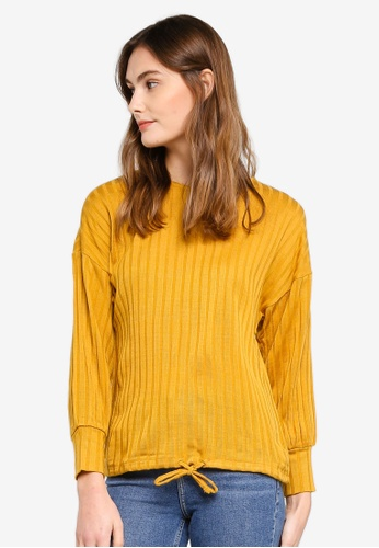 ESPRIT yellow Long Sleeve Ribbed Top F2632AAE984659GS_1