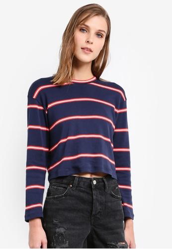 TOPSHOP navy Petite Stripe Crew T-Shirt TO412AA0SIW1MY_1