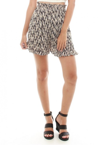Sophialuv multi and beige Eletta Pleated Culottes  in Zig Zags 0306AAA3F9252BGS_1