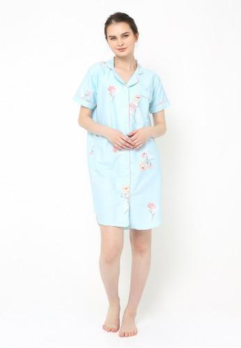 madeleine white and blue Daisy Blue Sleepshirt MA534US0UFRSID_1