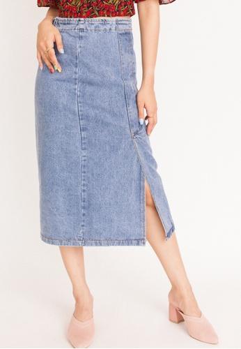 Hook Clothing blue Denim Midi Skirt EDF79AA4BBAFF7GS_1