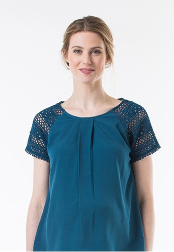 Bove by Spring Maternity blue Woven Kimono Sleeved Clementina Lace Sleeve Top Teal C9690AA54F7427GS_1