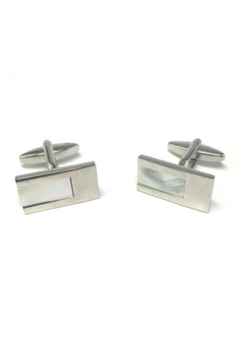 Splice Cufflinks white and silver Pearl White Rectangular Insert Rectangle Cufflinks SP744AC71FQYSG_1